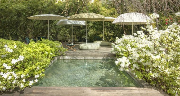 disenos jardines modernos piscina pequena ideas