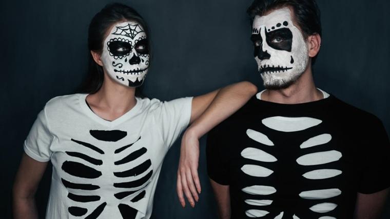 disfraces camisetas esqueletos maquillaje calaveras