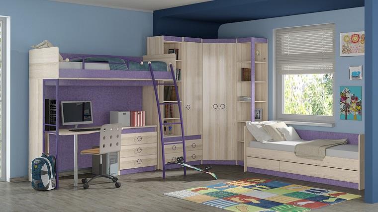 dormitorio ninos muebles color madera purpura combinacion original ideas
