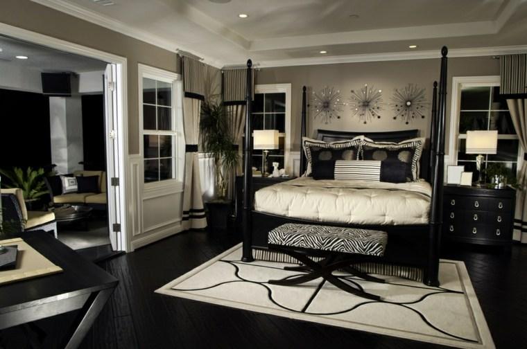 Dormitorios modernos en negro llenos de luz for Muebles oscuros paredes claras