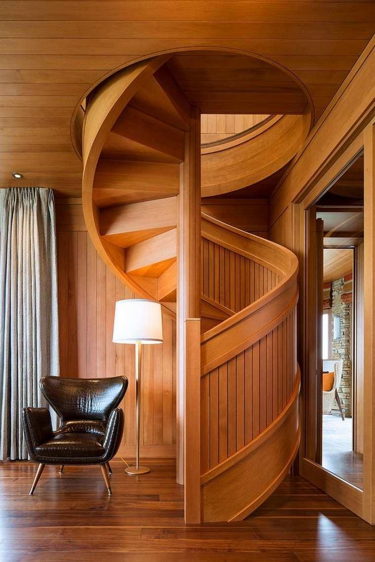 Escaleras interiores inspiradas en la modernidad - Escalera de madera ...