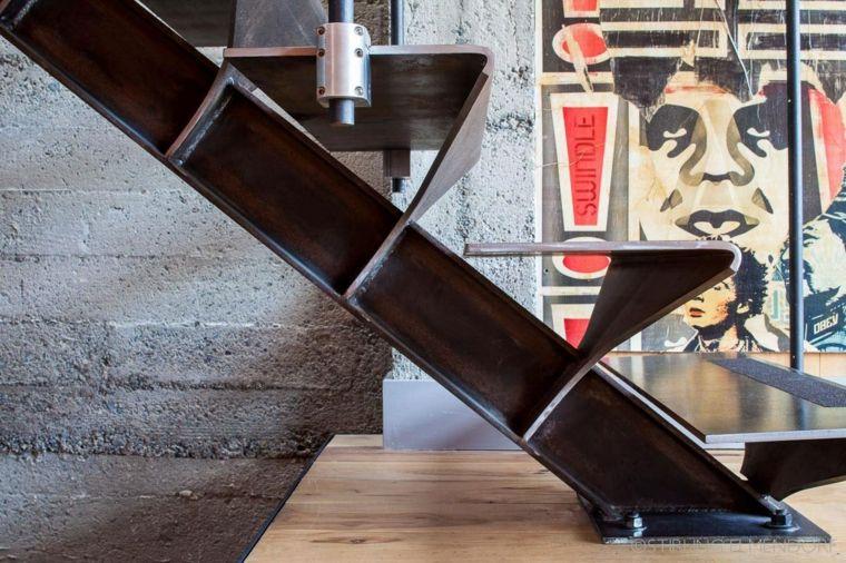 escalera diseo metal madera