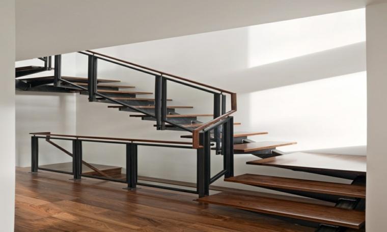 escalera interior flotante madera