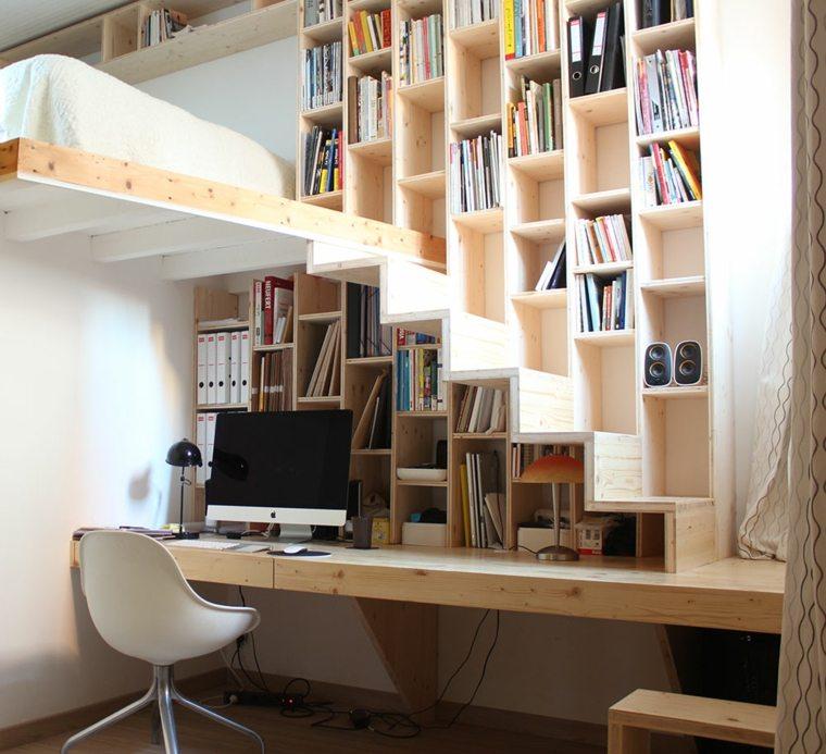 escaleras espacios pequeños cama