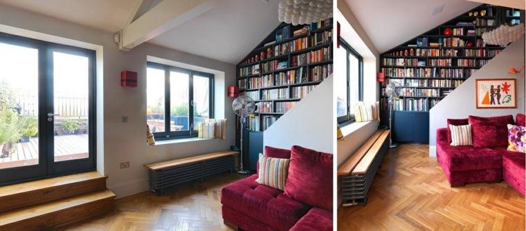 escaleras originales libros pared
