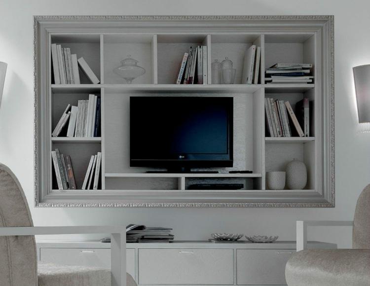 estantes contenedor television libros biblioteca