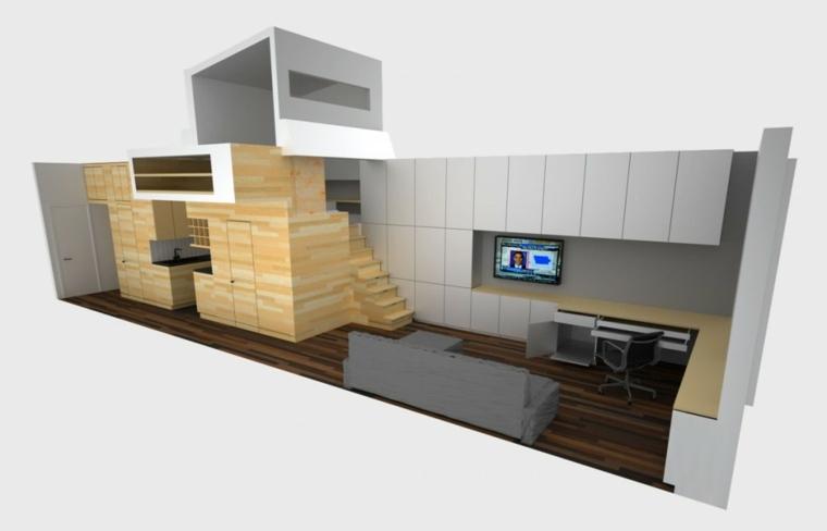 apartamento pequeno funciona elegante Manhattan plano ideas