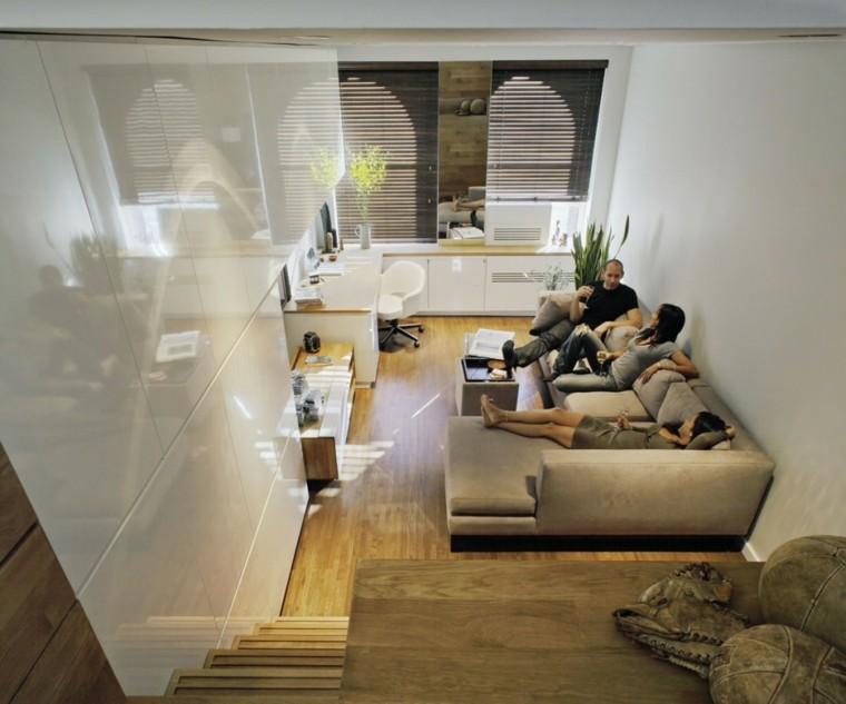 estudio pequeno funciona elegante Manhattan vistas desde dormitorio ideas