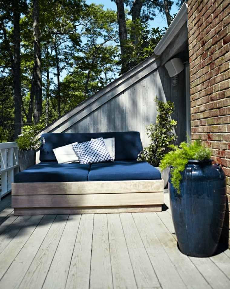 decoración terraza muebles madera