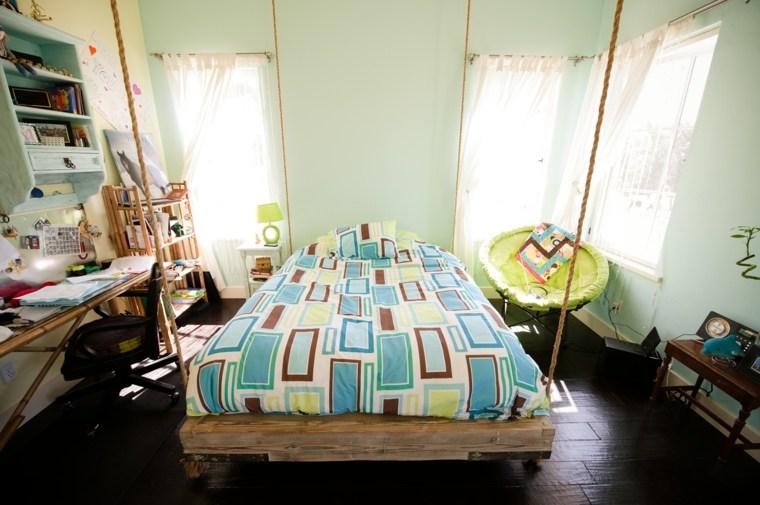 estupenda cama colgante dormitorio