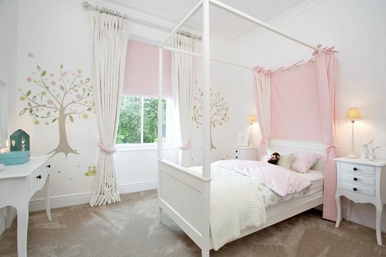 estupenda cama blanca dosel deco