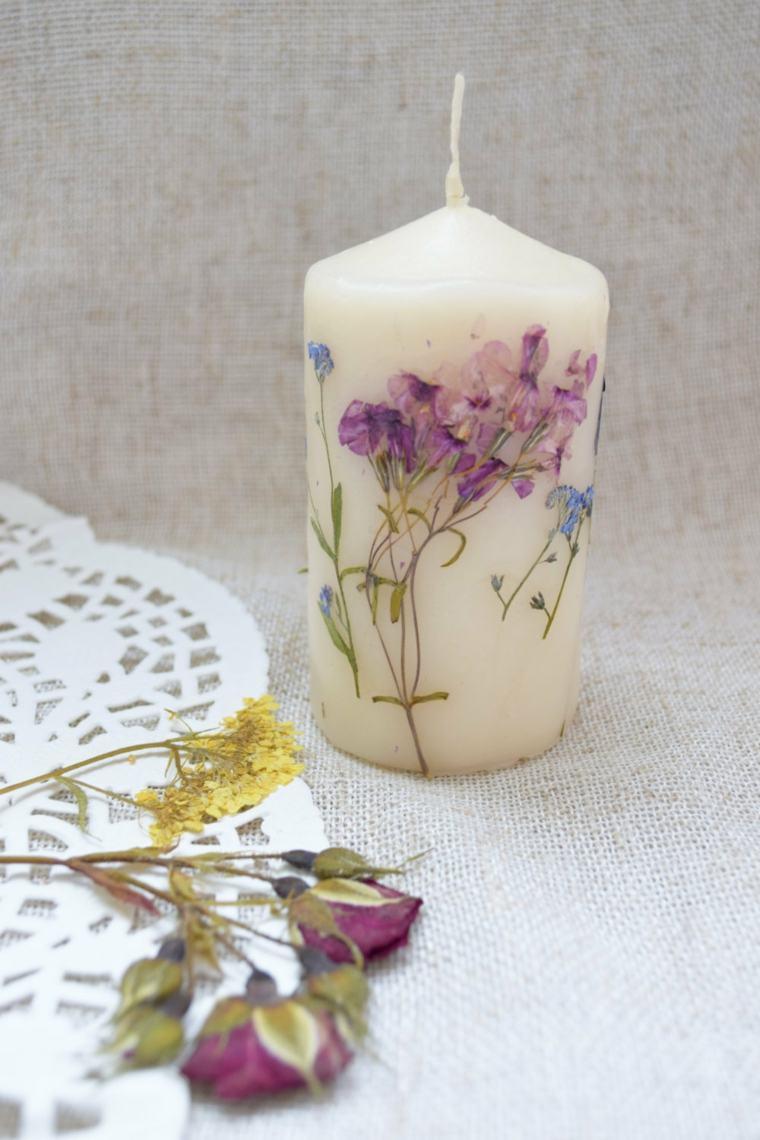 estupenda vela decorada flores secas