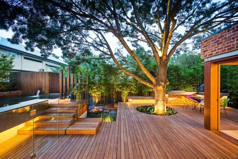 estupendo diseño patio plataforma madera