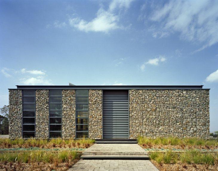 fachada casa pared exterior gaviones opciones arquitectura ideas