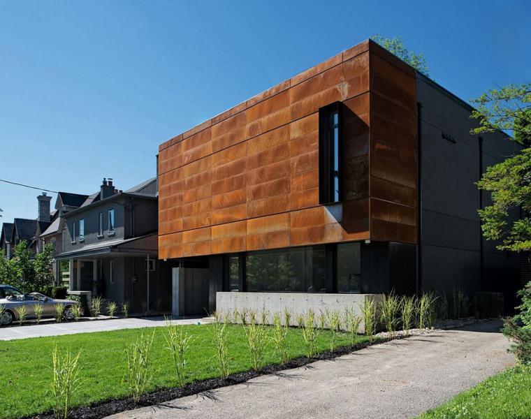 diseo de fachada moderna de acero corten y cristal