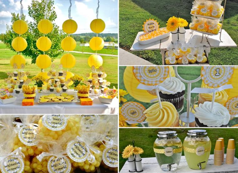 fiesta facil decoracion color amarillo verano jardin ideas