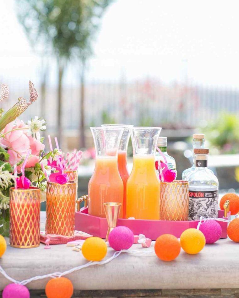 fiesta facil decoracion iluminacion bebidas jardin ideas