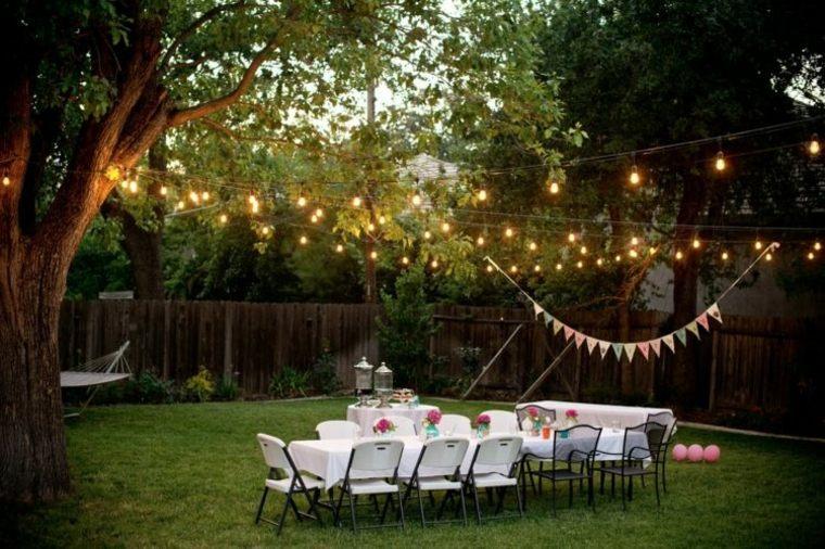 fiesta facil decoracion iluminacion mesa fiesta noche ideas