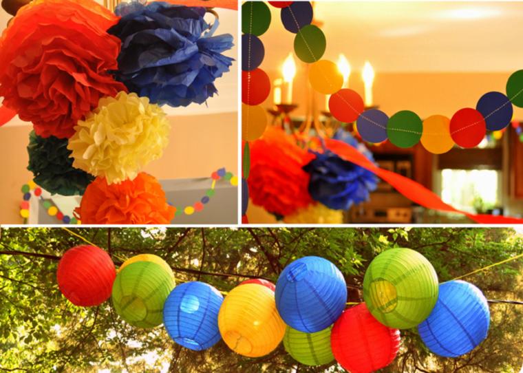 fiesta facil decoracion verano jardin lamparas papel colores ideas