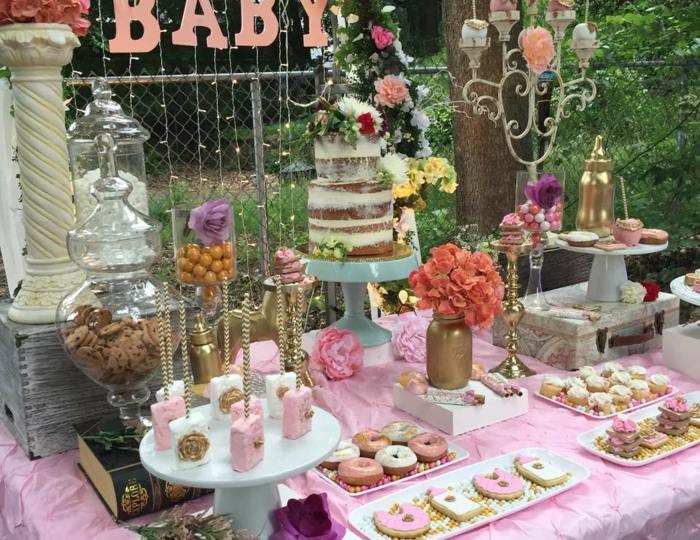 fiestas infantiles ideas vintage mesas dorados