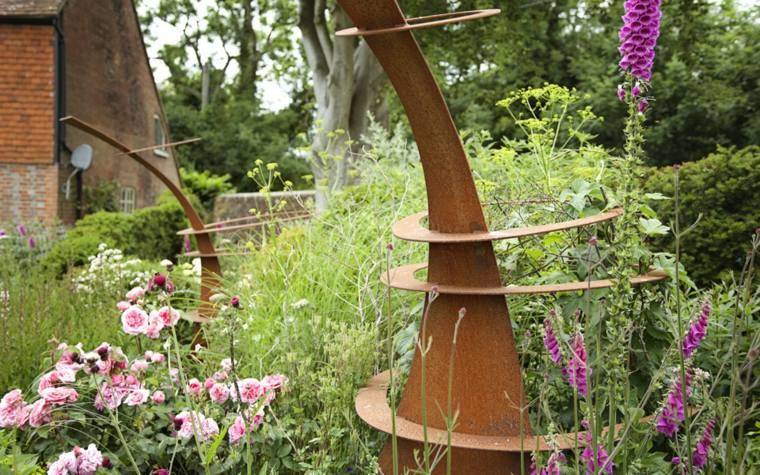 figuras decorativas acero oxidadas jardin