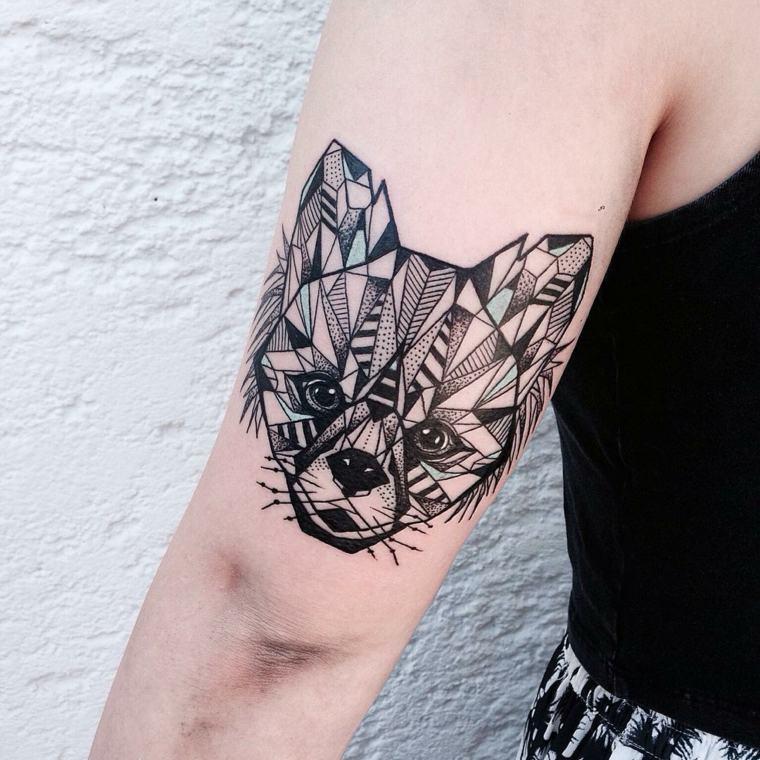 figuras geometricas cara perrito brazo
