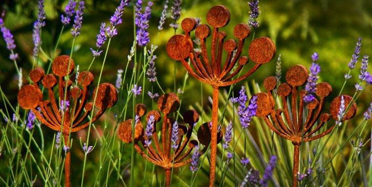 flores decorativas metal oxidado