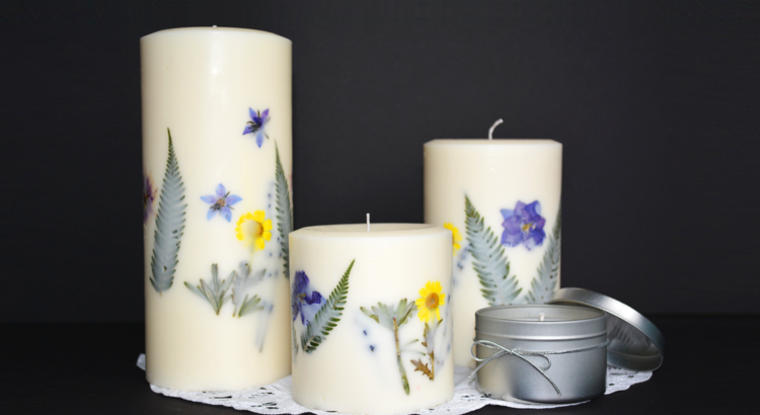 flores secas decoración velas