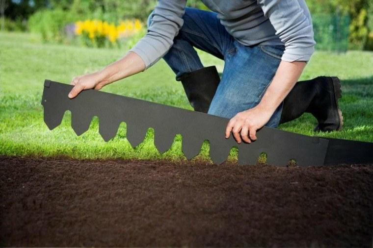 frontera acero negro separa espacios jardin ideas