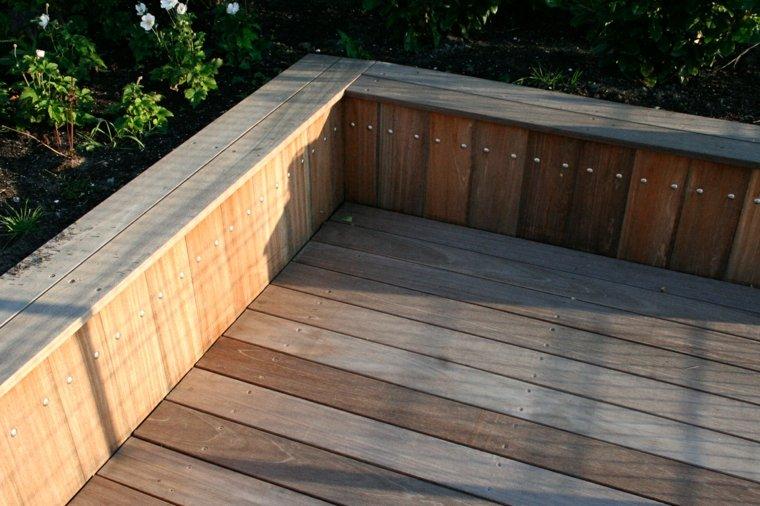 frontera alta madera jardin suelo madera ideas
