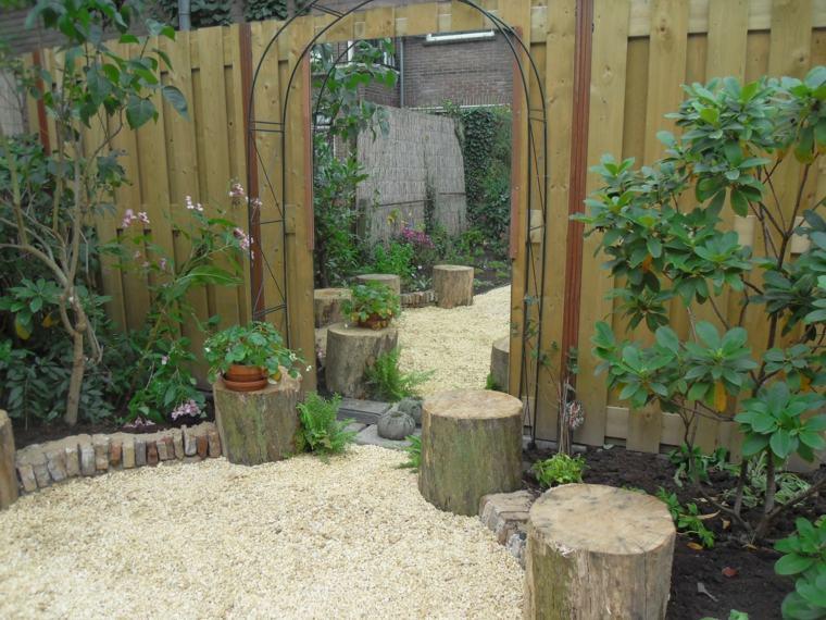 frontera combinacion troncos madera piedras ideas