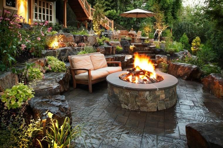 frontera rocas grandes lugar fuego jardin ideas