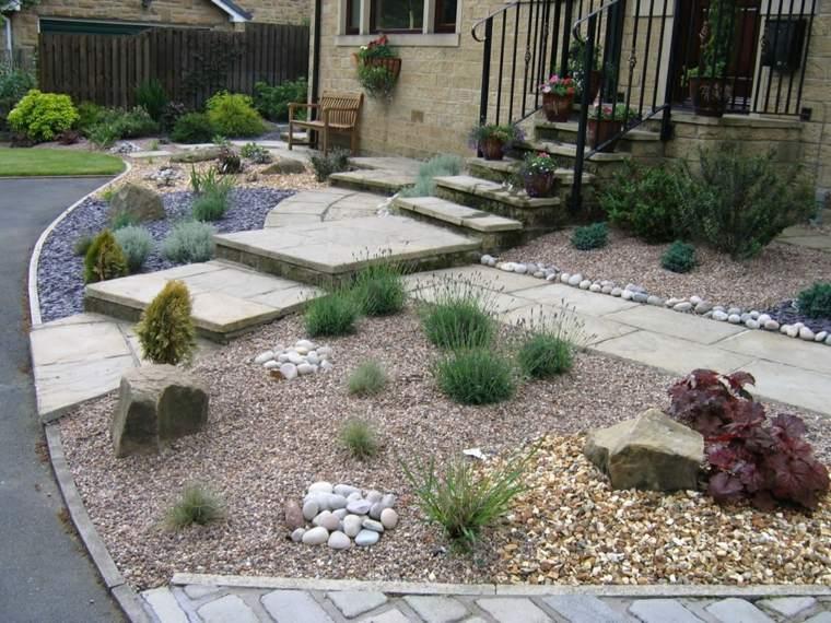 fronteras jardin delantero casa opciones distintas piedras ideas