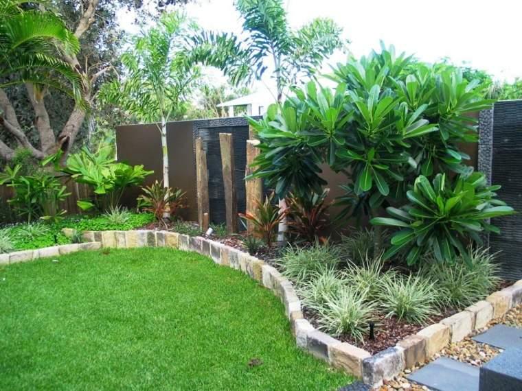 fronteras jardin disenos tropical piedras ideas