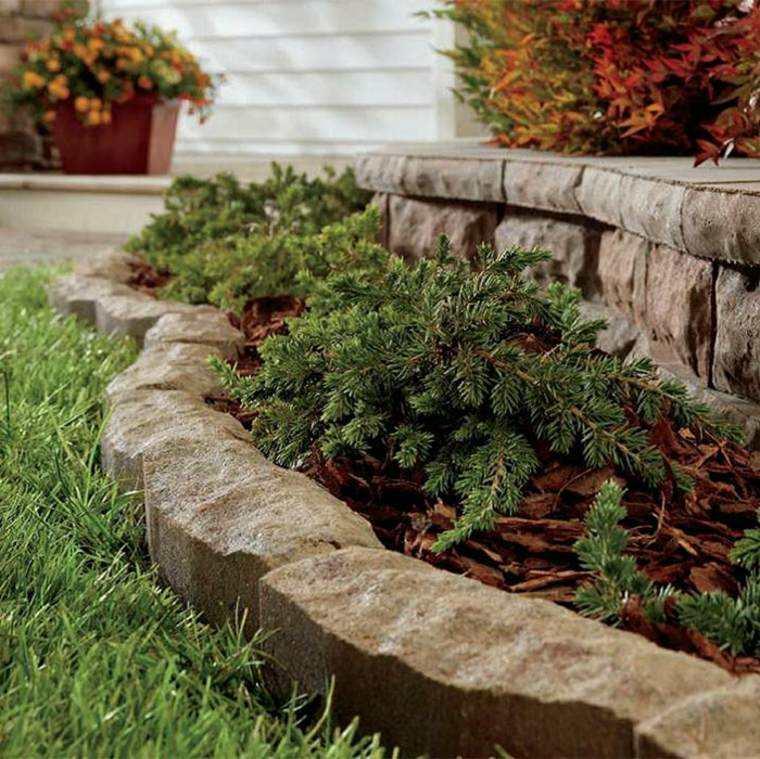 frontereas jardin separa ceped plantas piedras ideas