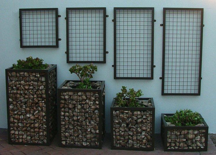gaviones macetas diseno contemporaneo decoracion jardin ideas