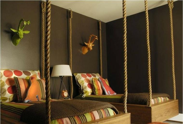 habitacion moderna dos camas colgantes
