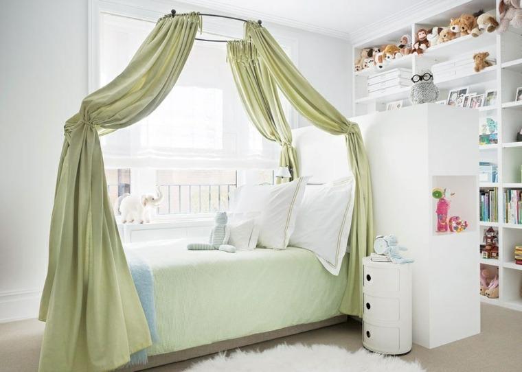 habitaciones ninos diseno cama dosel verde blanco ideas