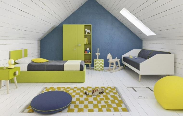 habitaciones para ninos diseno azul pared loft ideas