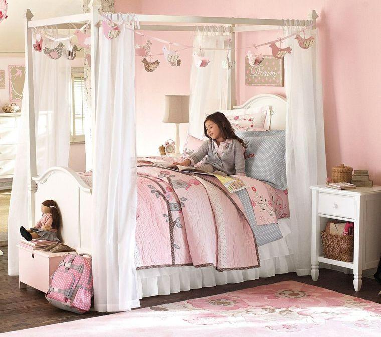 habitaciones para ninos diseno cama dosel princesa rosa ideas