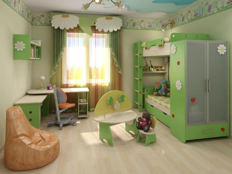 habitaciones para ninos diseno literas verdes ideas