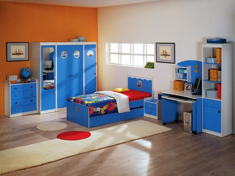 habitaciones ninos diseno muebles chico azul ideas