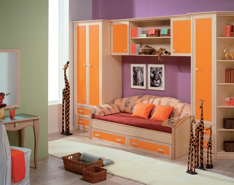 habitaciones ninos diseno muebles color naranja ideas