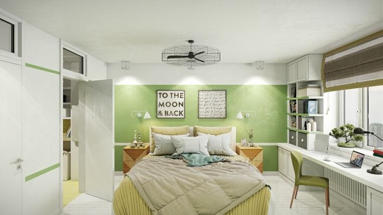 habitaciones ninos diseno pared color verde ideas