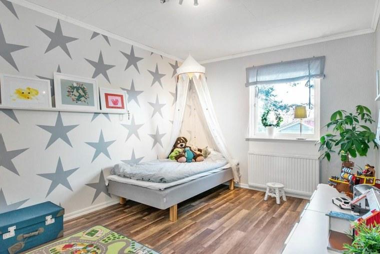 habitaciones ninos diseno pared estrellas ideas