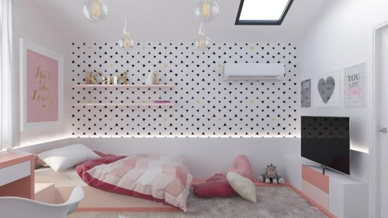 habitaciones ninos diseno rosa papel pared ideas