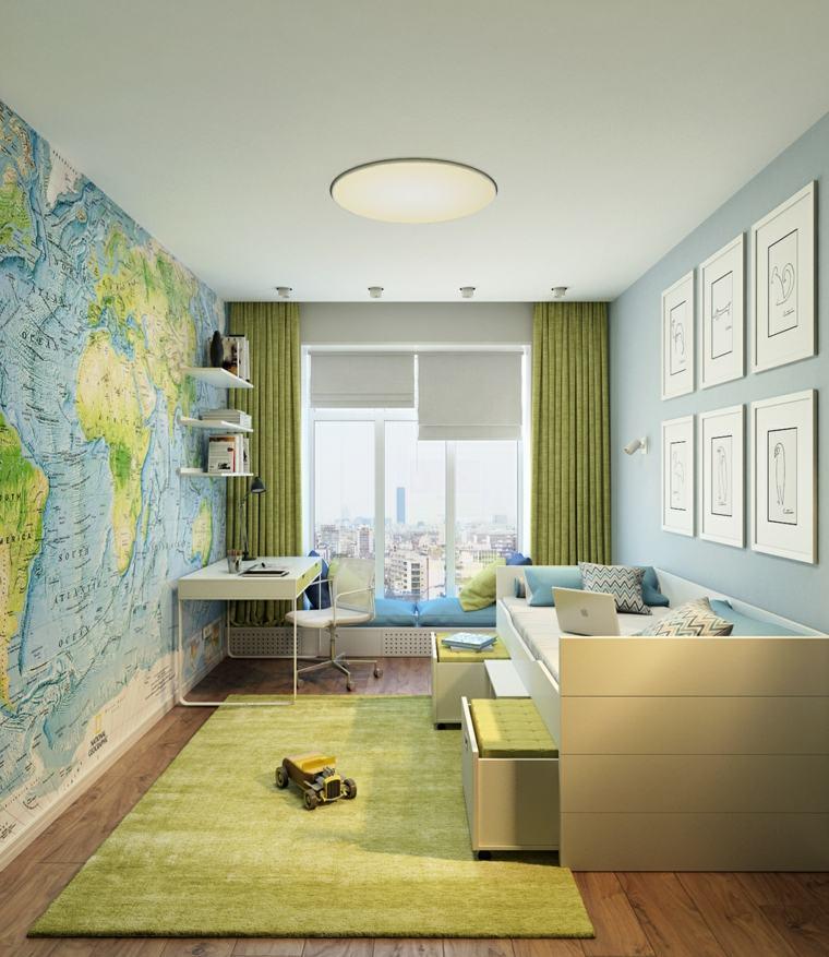 habitaciones ninos diseno verde mapa pared ideas