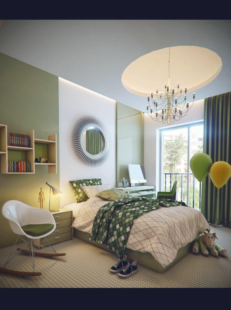habitaciones ninos grandes verde blanco ideas