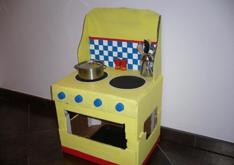 horno cocina hecho carton ninos juegos color amarillo ideas
