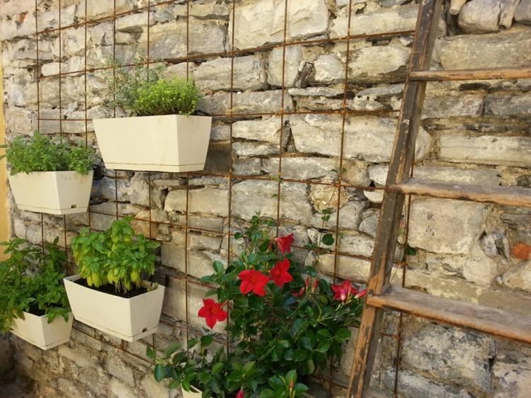 huerto vertical maneras plantar vegetales hierbas macetas pared ideas